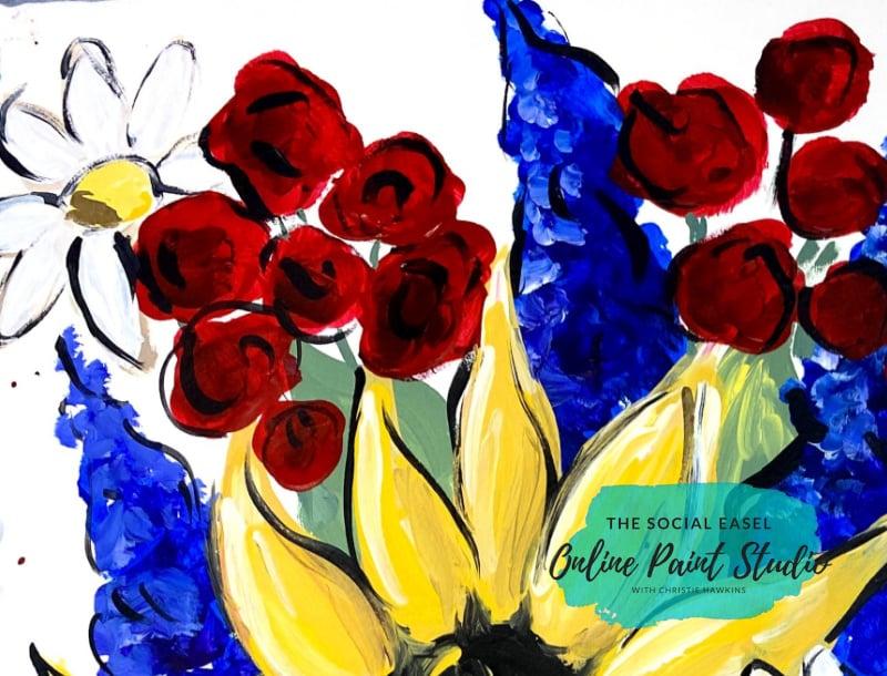 Carnations, daisies, and Bluebonnets Americana Mason Jar Bouquet The Social Easel