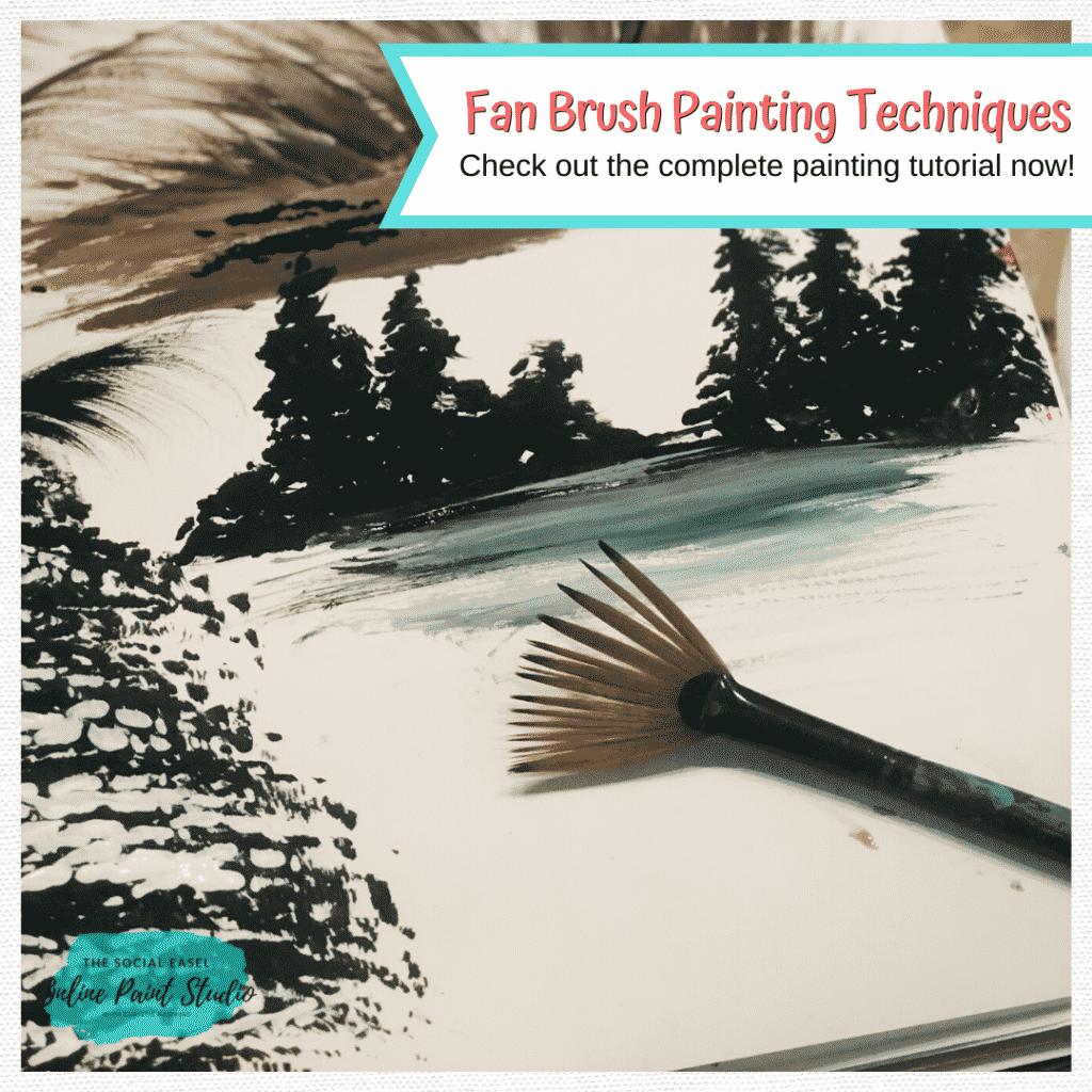 Fan acrylic paint brush painting techniques The Social Easel Online Paint Studio
