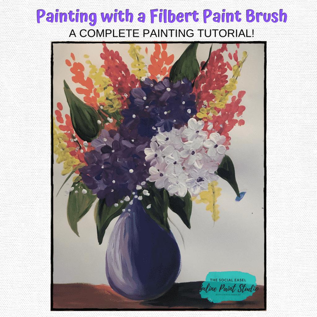 Filbert Acrylic Paint Brush The Social Easel Online Paint Studio