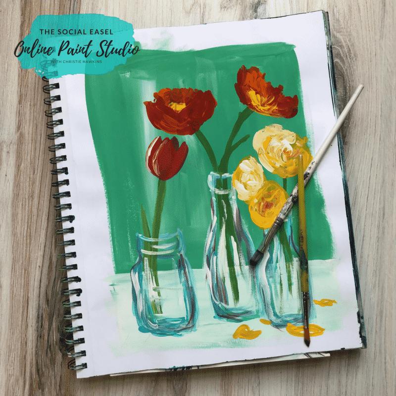 Flowers in Milk Bottles acrylic brushes The Social Easel Hot to Create Original Art