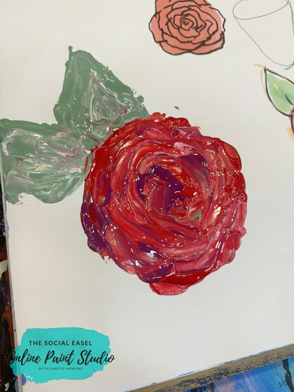 Palette Knife Rose How to Paint Roses the Social Easel Online Paint Studio