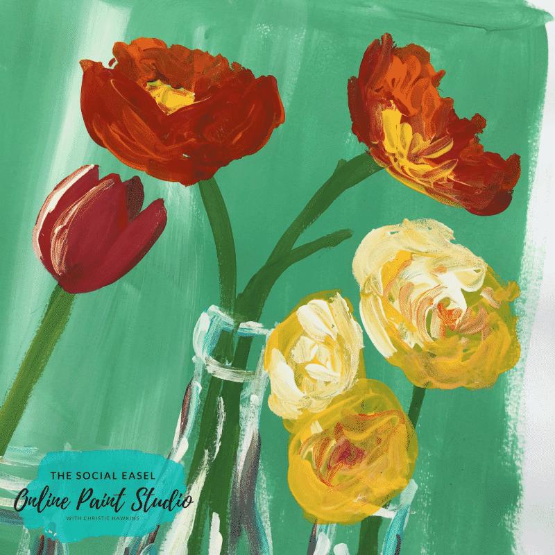 Spring Flowers in Bottles The Social Easel Online Paint Studio