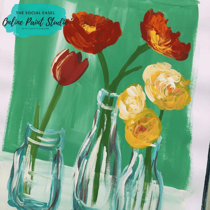 Spring Flowers in Milk Bottles Create Original Art