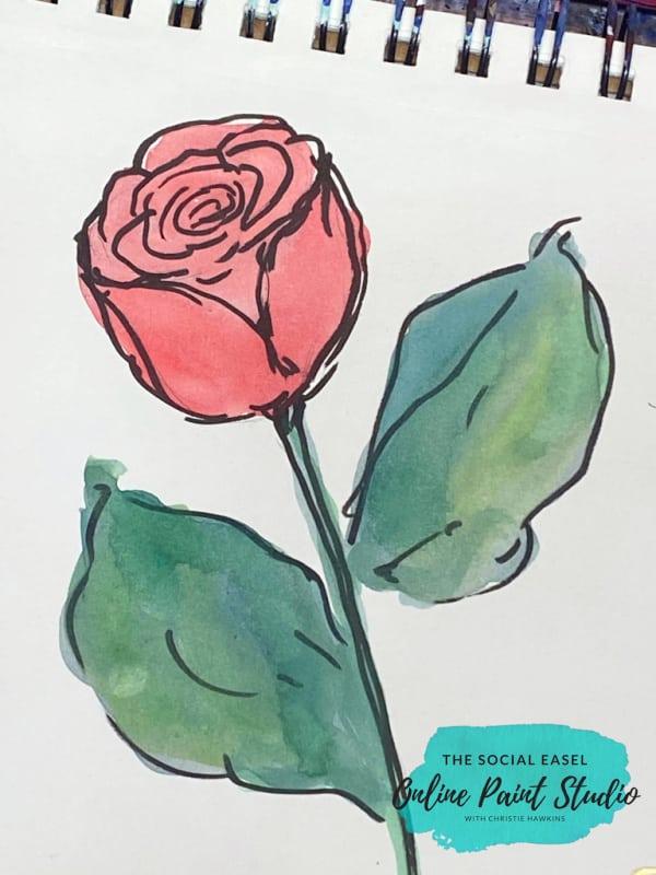 Stemmed Rose How to Paint Roses the Social Easel Online Paint Studio