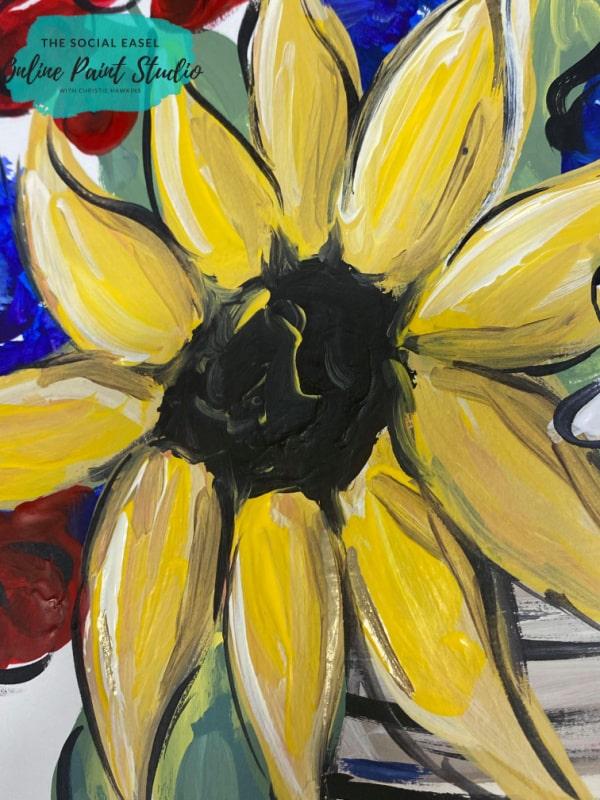 Sunflower Americana Mason Jar Bouquet The Social Easel