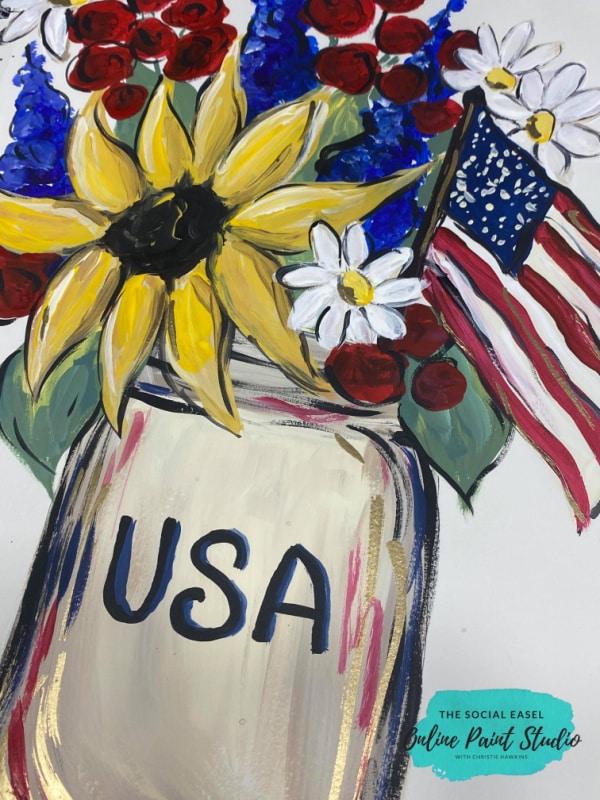 USA Americana Mason Jar Bouquet Painting Tutorial The Social Easel Online Paint Studio