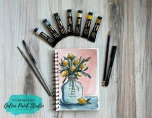 Acrylic Paint as Watercolor The Social Easel Online Paint Studio Watercolor Lemons in a Jar