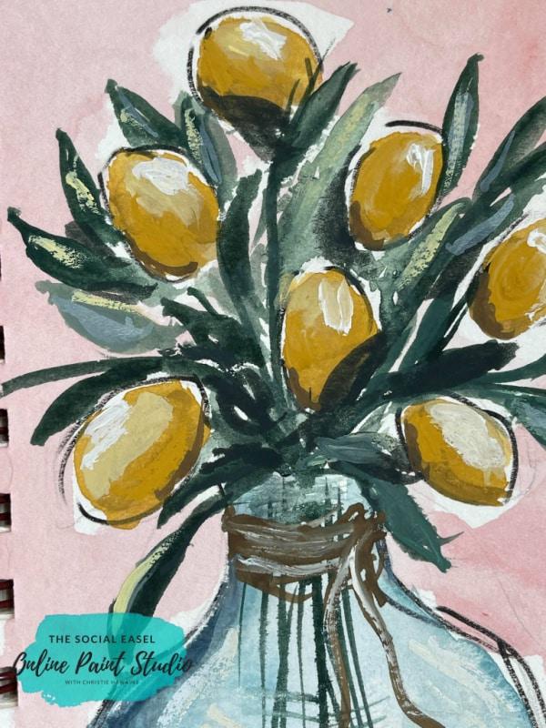 Layering Watercolor Lemons in a Jar The Social Easel Online Paint Studio