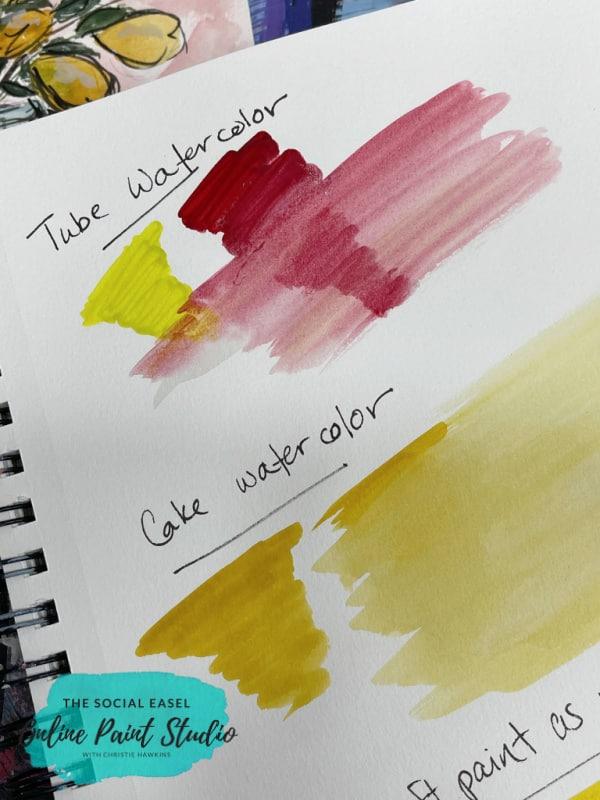 Tube Arteza Premium Watercolors vs Cake Watercolors Watercolor Lemons in a Jar The Social Easel Online Paint Studio