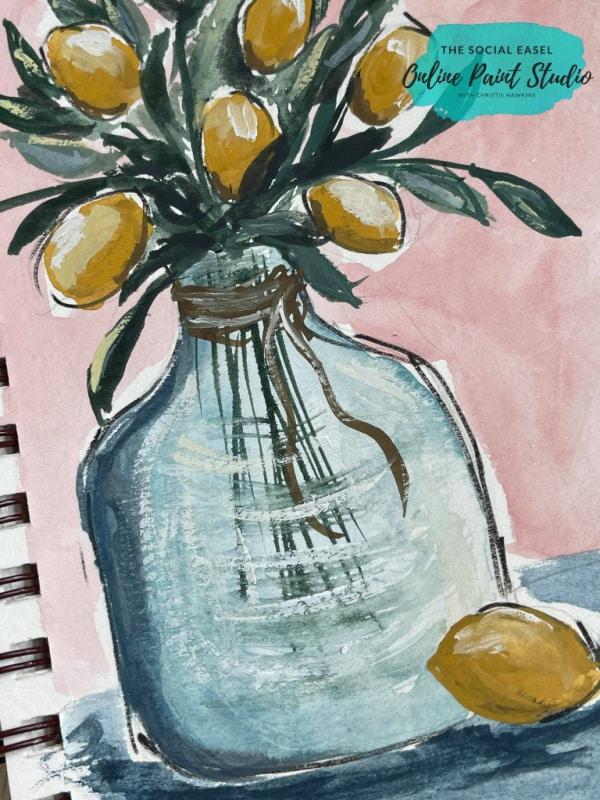 Watercolor Lemons in a Jar The Social Easel Online Paint Studio (1)