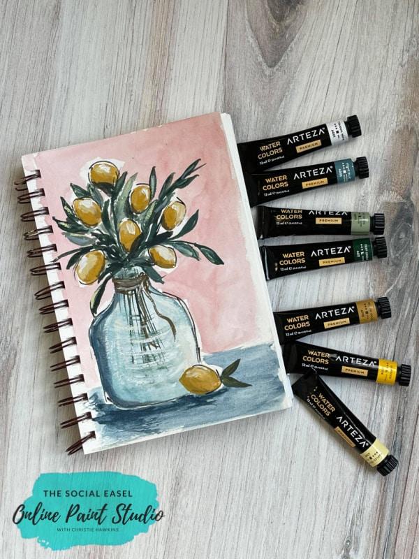 Watercolor Lemons in a Jar The Social Easel Online Paint Studio with Arteza Premium Watercolors