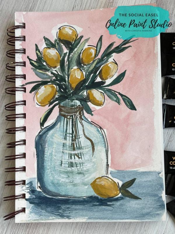 Watercolor Lemons in a Jar The Social Easel Online Paint Studio