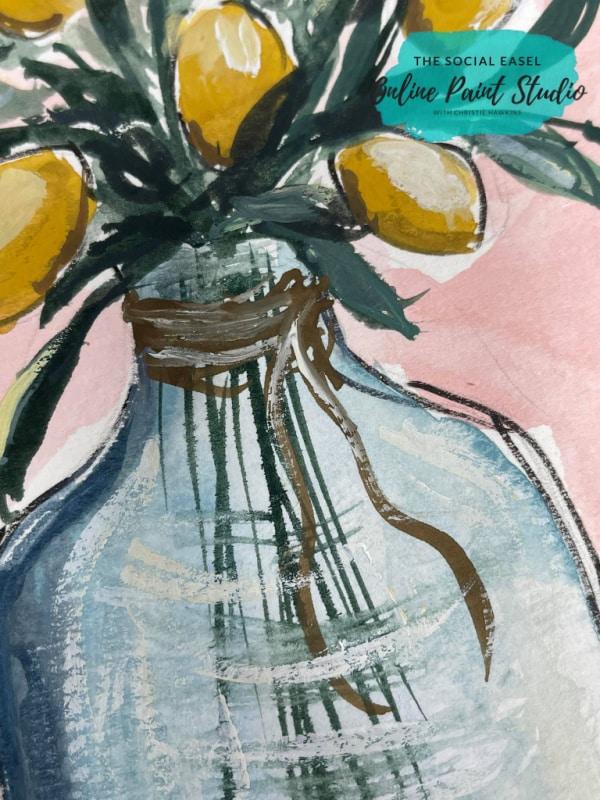 Watercolor Lemons in a Jar twine The Social Easel Online Paint Studio
