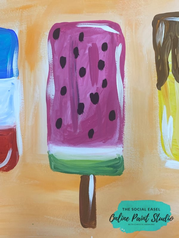 Watermelon Summer Popsicle Painting Tutorial for Kids The Social Easel Online Paint Studio