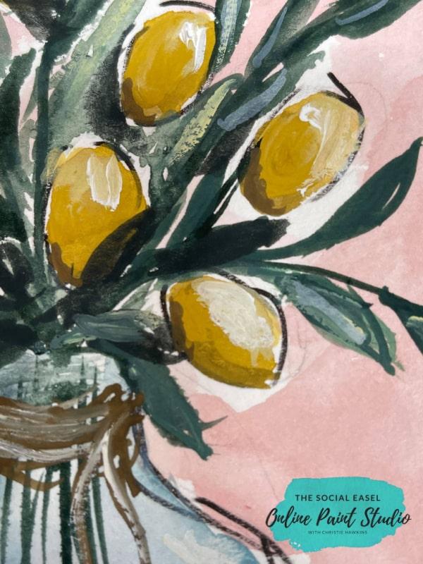 multi greens Watercolor Lemons in a Jar The Social Easel Online Paint Studio