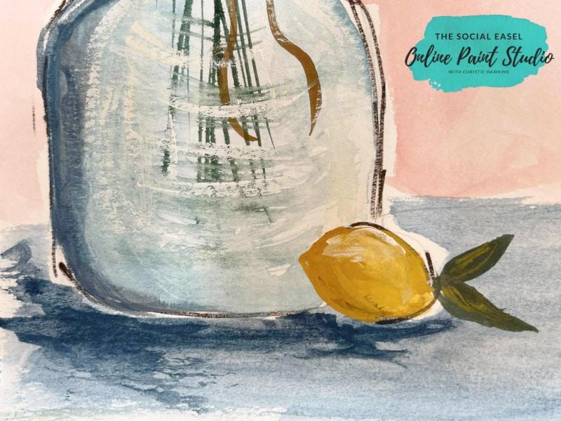 tabletop Watercolor Lemons in a Jar The Social Easel Online Paint Studio