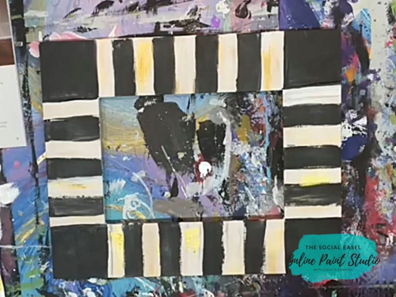Black Stripes and Corners Funky Flowers Frame The Social Easel Online Paint Studio
