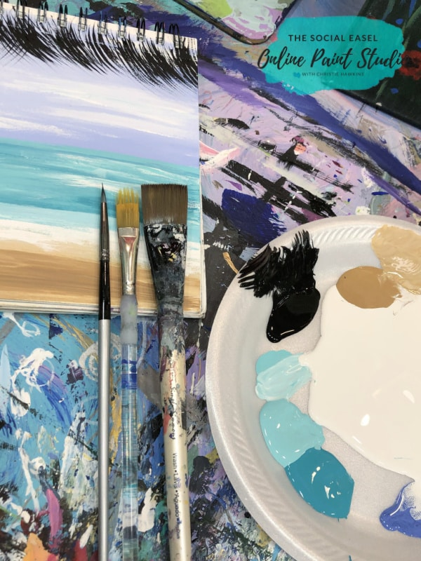 Paint brushes used for Simple Oceanscape for Beginners The Social Easel Online Paint Studio