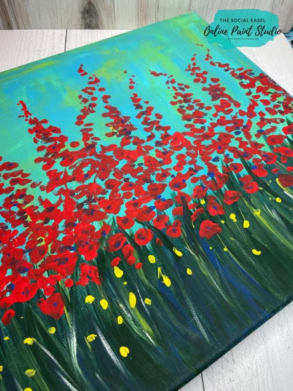 Simple Wildflowers Acrylic Painting Tutorial The Social Easel Online Paint Studio