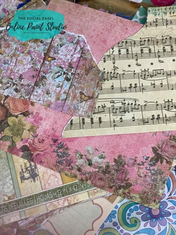 scrap paper Sheet Music Mixed Media Art for Beginners The Social Easel