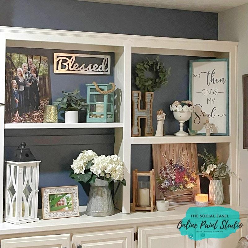 Family Room TV Wall Makeover The Social Easel Online Paint Studio