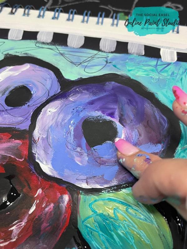 Finger Painting Funky Flowers The Social Easel Online Paint Studio (1)