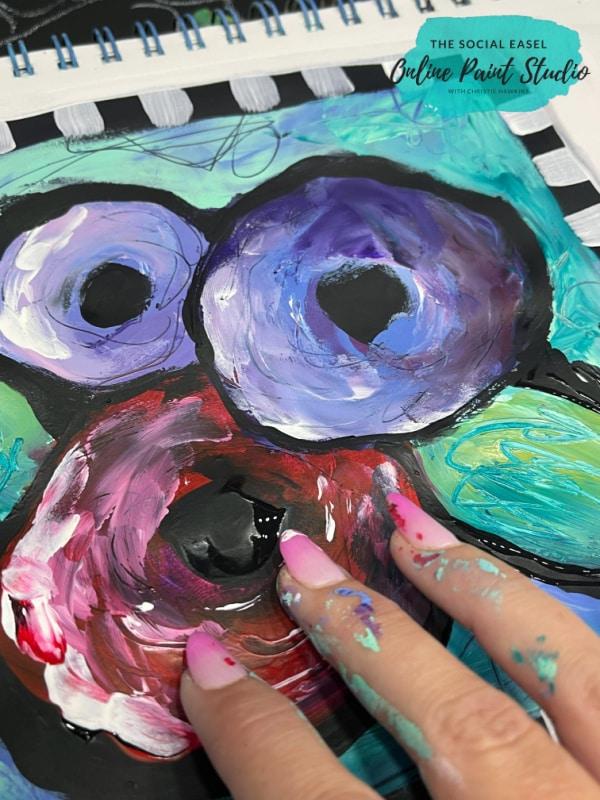 Finger Painting Funky Flowers The Social Easel Online Paint Studio