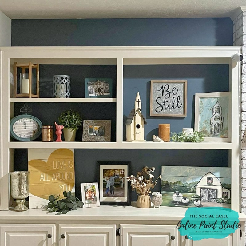 Love the Final color! painting the back of built-ins The Social Easel Online Paint Studio