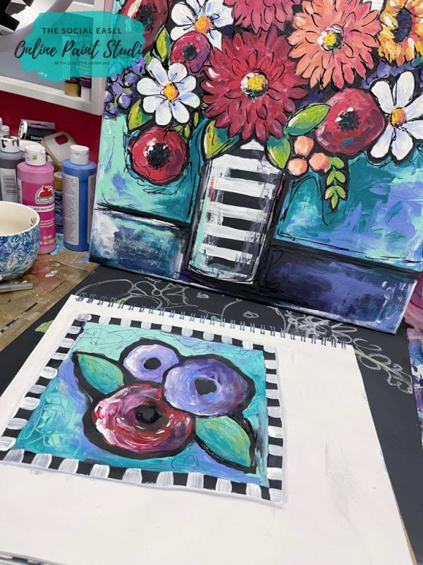 Funky Flowers The Social Easel Online Paint Studio
