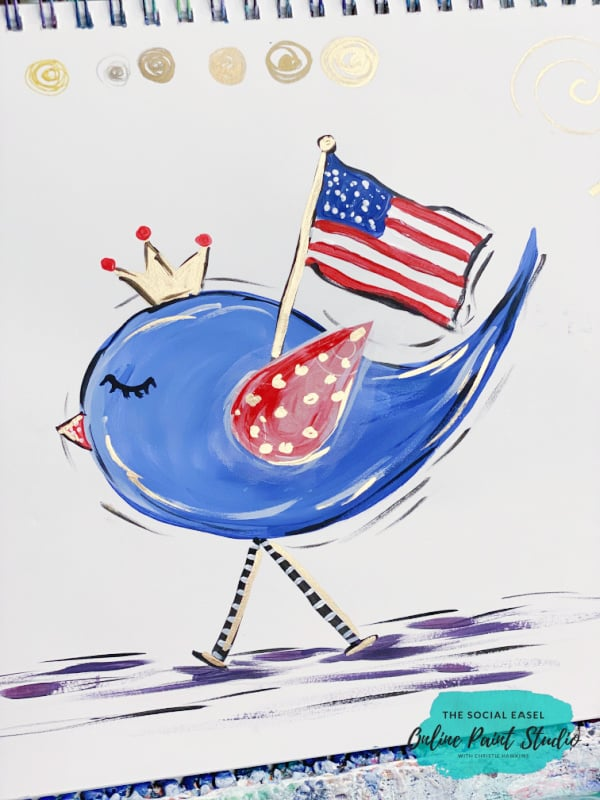 Cute painted patriotic bird The Social Easel