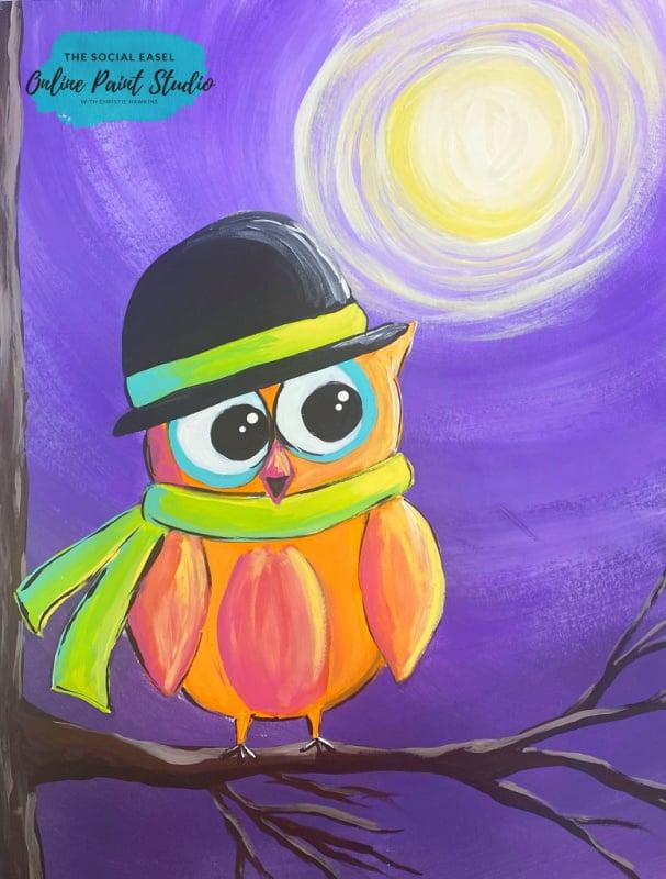 Purple night sky with moon Adorable Moonlit Owl