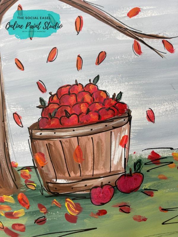 Bushel of Apples Fall Acrylic Painting Tutorial The Social Easel
