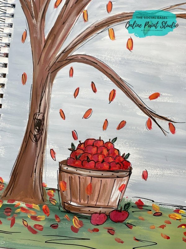 Easy Fall Acrylic Painting Tutorial Bushel of Apples with Tree The Social Easel