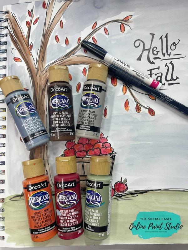How to Paint Fall Bushel of Apples Paint Colors The Social Easel Online Paint Studio