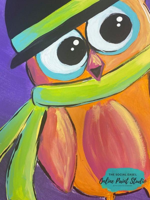 Acrylic Painted Moonlit Owl The Social Easel Online Paint Studio