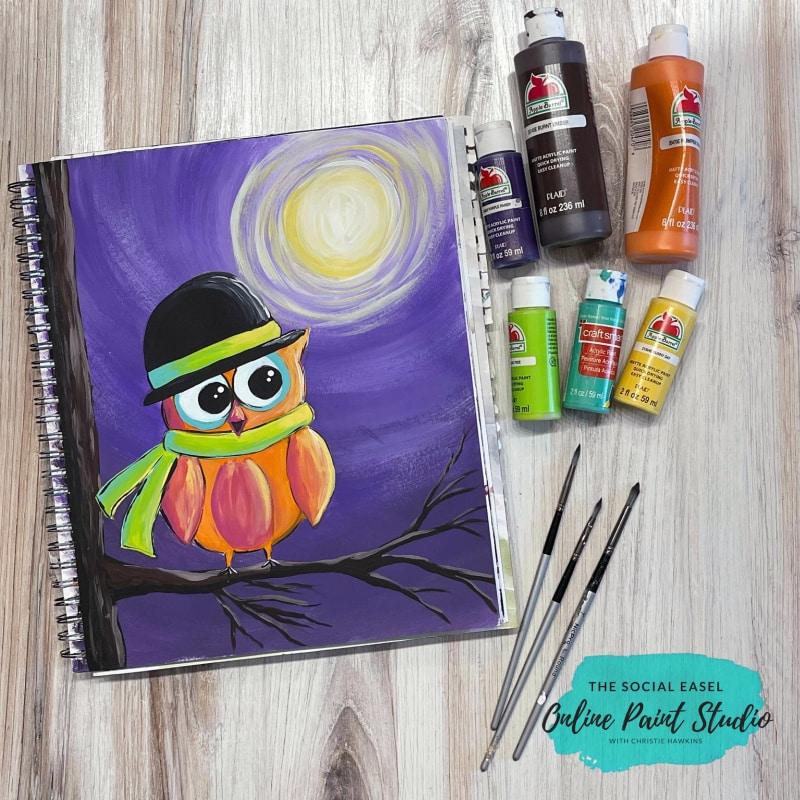 Moonlit Owl Acrylic Painting Tutorial The Social Easel Online Paint Studio