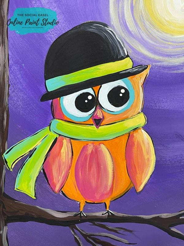 Moonlit Owl The Social Easel Online Paint Studio
